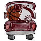 TR232 Maroon Basketball Tailgate Truck