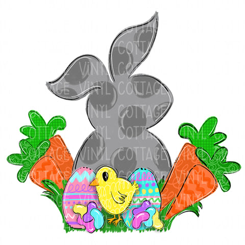 TR260 Easter Rabbit with Chick and Carrots