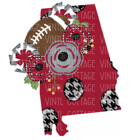 TR329 Alabama Floral Football Crimson