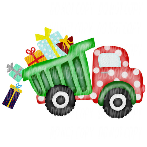 TR456 Christmas Presents Polka Dot Dump Truck