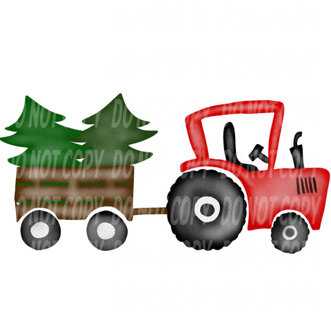 TR458 Red Tractor Pulling Christmas Trees