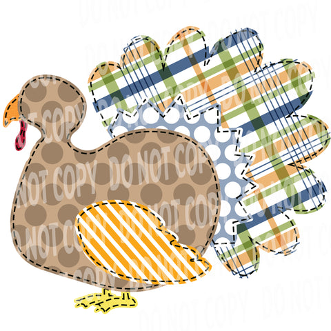 TR484 Brown and Plaid Patchwork Turkey
