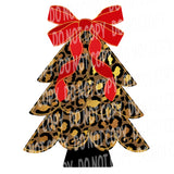 TR487 Leopard Christmas Tree with Red Ribbon Bow
