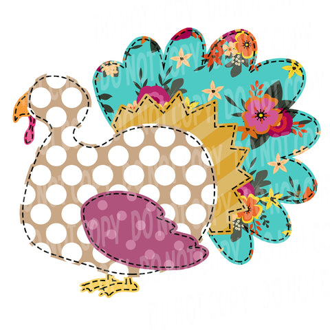 TR489 Mint and Purple Patchwork Turkey