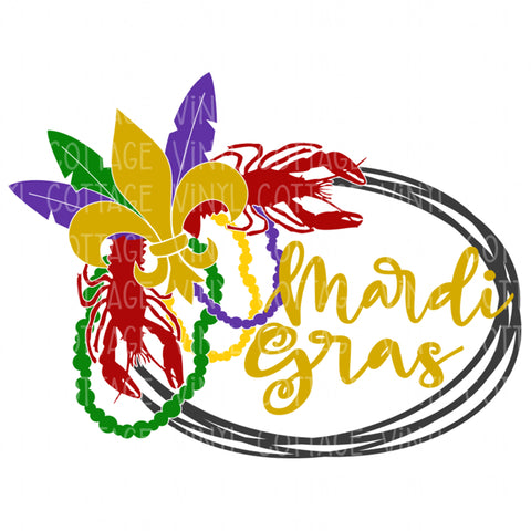 TR538 Mardi Gras Scribble Wreath