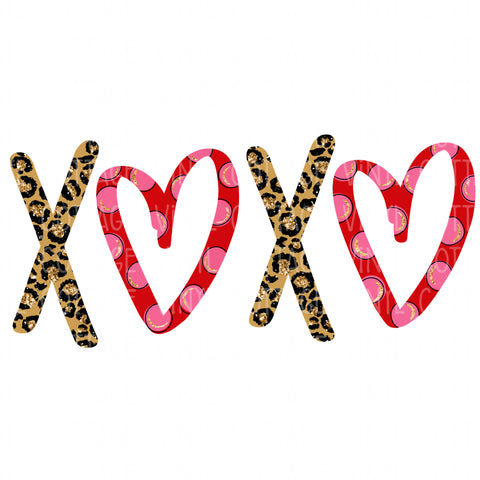 TR563 Leopard and Red Heart XOXO