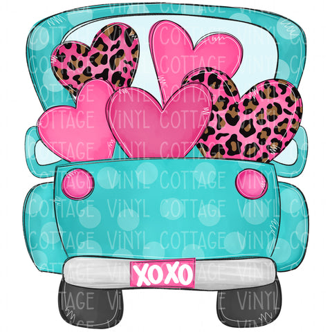 TR565 Aqua Truck with Pink Leopard Hearts