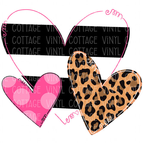 TR617 Leopard and Stripes Heart Trio
