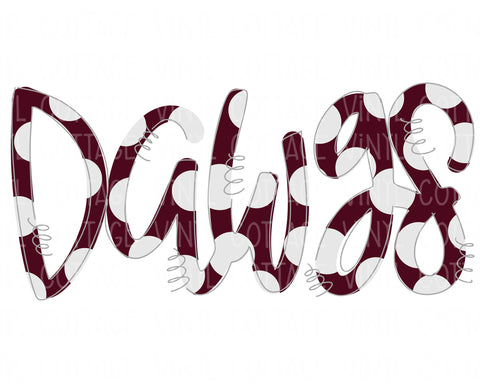 TR783 Dawgs Word Art Maroon and White