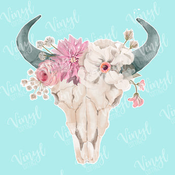 Bull Skull with Flowers HTV Transfer
