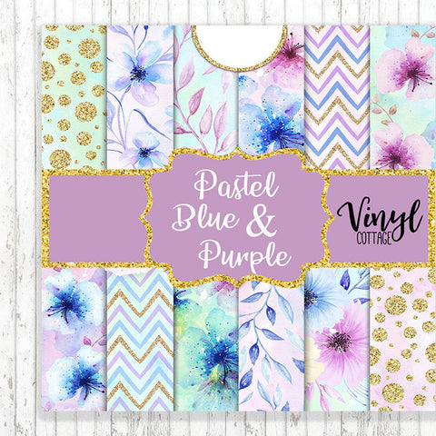 Pastel Blue & Purple Flowers
