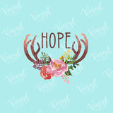 Faith Hope Blessed Floral Antlers