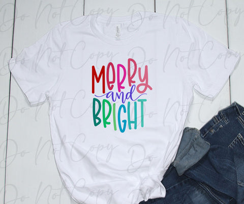 Merry and Bright SCREEN PRINT TRANSFER