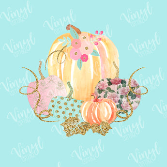 Pastel Vintage Pumpkins Dye Press Transfer
