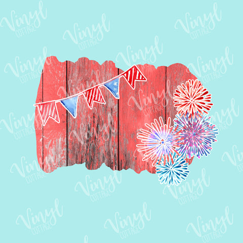 Patriotic Wood and Fireworks Frame