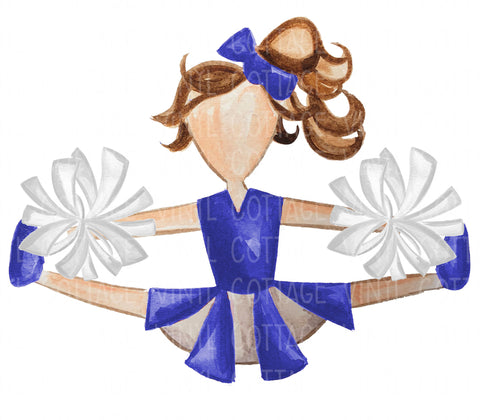 TR129 Blue and White Cheerleader Brown Hair