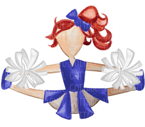 TR133 Blue and White Cheerleader Red Hair