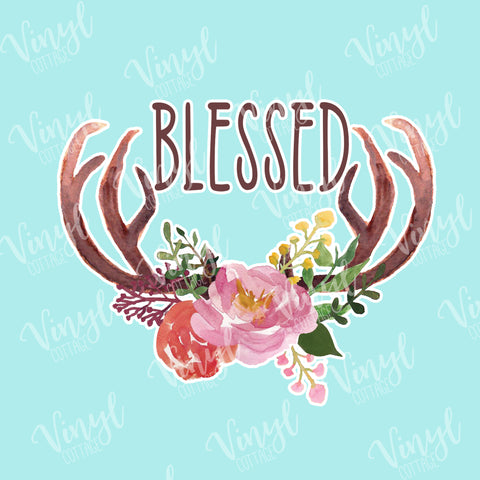 Blessed Antlers HTV Transfer--TR152