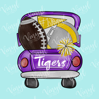 Purple and Gold Tailgate Truck HTV Transfer--TR181