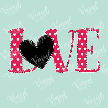 Love Heart with Stitches HTV Transfer-TR222