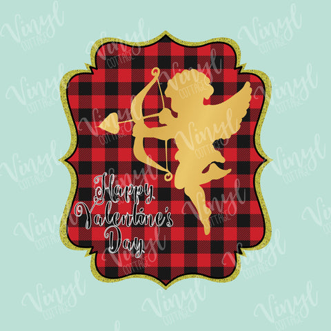 Cupid Buffalo Plaid Valentine HTV Transfer-TR227