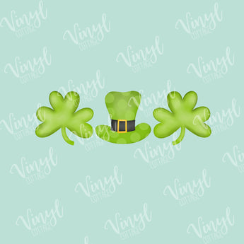 St Patrick's Day Clover and Hat HTV Transfer-TR249