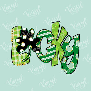 Lucky St Patrick's Day Clover HTV Transfer-TR256