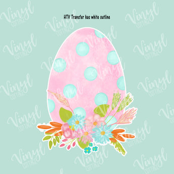 Watercolor Easter Egg with Flowers HTV Transfer-TR264