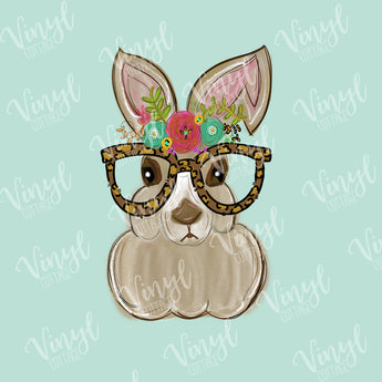 Watercolor Rabbit with Glasses HTV Transfer-TR286