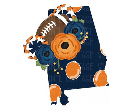 TR330 Alabama Floral Football Blue and Orange