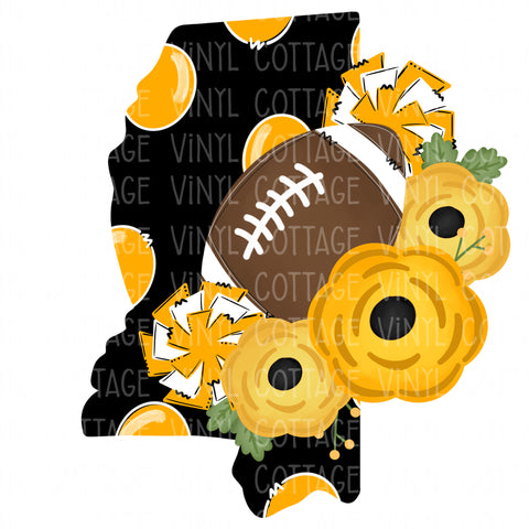 TR332 Mississippi Black and Gold Floral Football