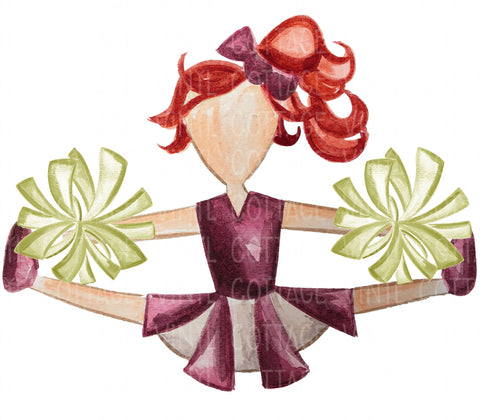 TR398 Maroon and Gold Cheerleader Red Hair