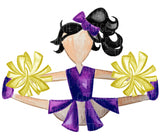 TR431 Purple and Gold Cheerleader Black Hair