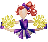 TR433 Purple and Gold Cheerleader Red Hair