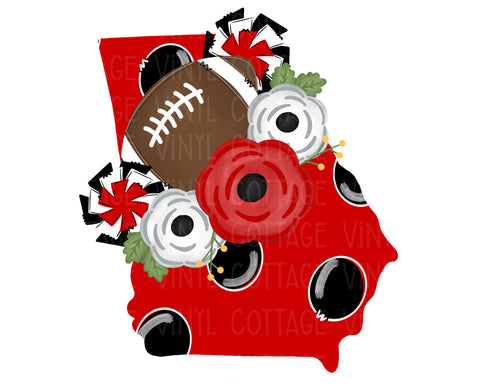 TR435 Georgia Floral Football Red and Black