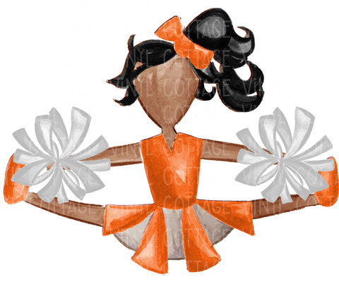 TR746 Orange and White Cheerleader African American