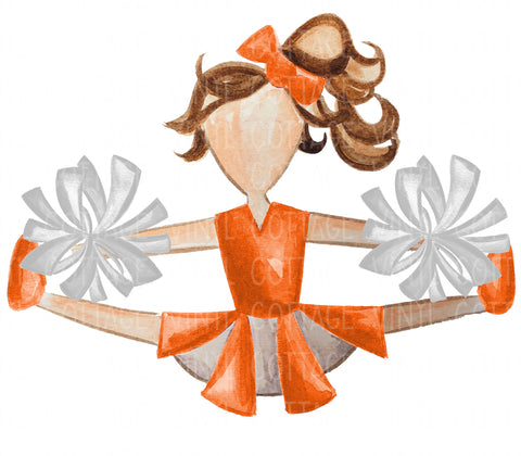 TR749 Orange and White Cheerleader Brown Hair