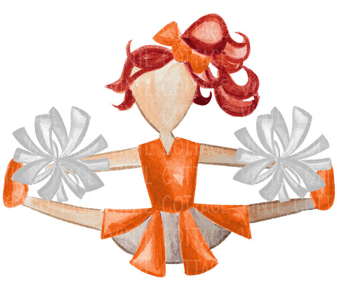 TR750 Orange and White Cheerleader Red Hair