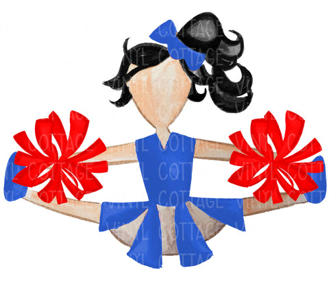 TR755 Blue and Red Cheerleader Black Hair