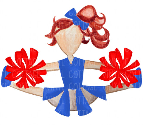 TR758 Blue and Red Cheerleader Red Hair