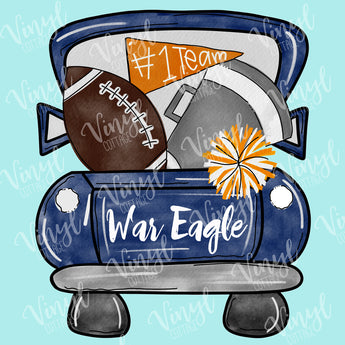 Blue and Orange War Eagle Tailgate Truck Dye Press Transfer