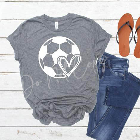 Soccer Ball with Heart CIRCLE SCREEN PRINT TRANSFER