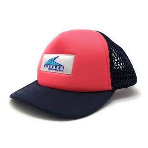 """Ball"" Brim Trucker Hat - Pink/ Navy Blue"