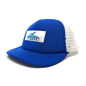 """Ball"" Brim Trucker Hat - Blue/ White"
