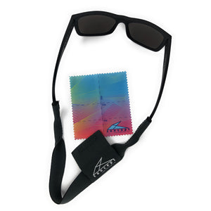 Evolved Sunglass Retainer with Pocket for Microfiber Cloth - Concept California - Dark Grey