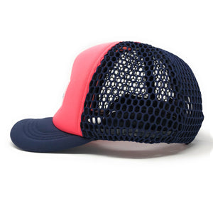 "Trucker Hat with Small ""Ball"" Brim and Big Hole Mesh - Concept California - Pink/ Navy Blue"