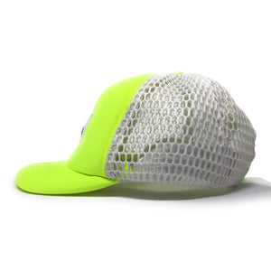 "Trucker Hat with Small ""Ball"" Brim and Big Hole Mesh - Concept California - Neon Yellow/ White"