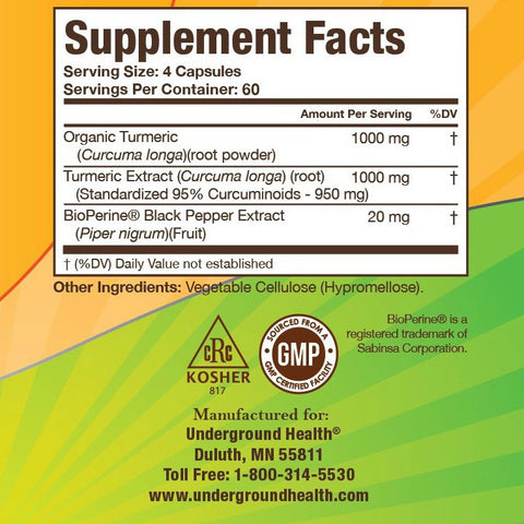 Turmeric Curcumin 2000mg with Bioperine - 240 Capsules - 3 Bottle Bundle (6 Month Supply)