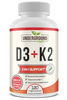 Image of Vitamin D3 with Vitamin K2 (MK7) - With Bioperine for Advanced Absorption - 5000 IU of Vitamin D3 & 100 mcg of Vitamin K2 MK-7 - 120 Small & Easy to Swallow Vegetable Capsules