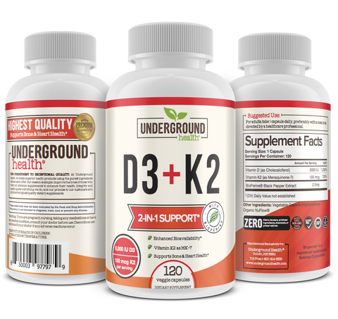Vitamin D3 with Vitamin K2 (MK7) - With Bioperine for Advanced Absorption - 5000 IU of Vitamin D3 & 100 mcg of Vitamin K2 MK-7 - 120 Small & Easy to Swallow Vegetable Capsules